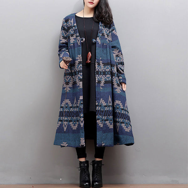 Literature Printing Long Sleeves Women Winter Long Coat - Buykud