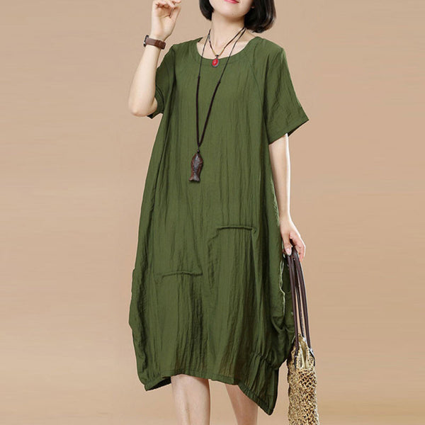 Summer Women Literature Loose Splicing Short Sleeve Green Dress - Buykud