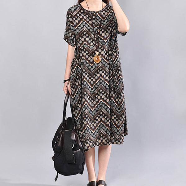 Printing Women Loose Cotton Summer Retro Short Sleeves Coffee Dress