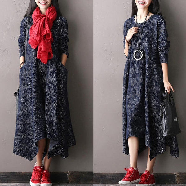 Casual Long Sleeved Cotton Irregular Dress - Buykud
