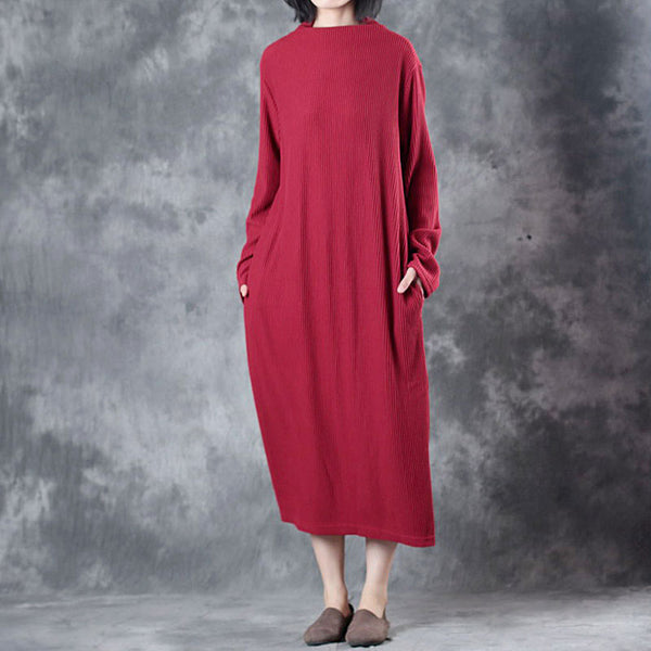 Spring Autumn Women Cowl Neck Long Sleeve Pockets Red Dress