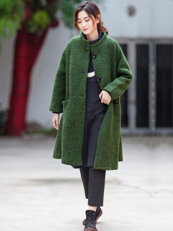 Women Casual Loose Woolen Coat Green Buykud