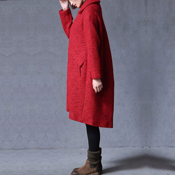 Red Loose Wool Coat