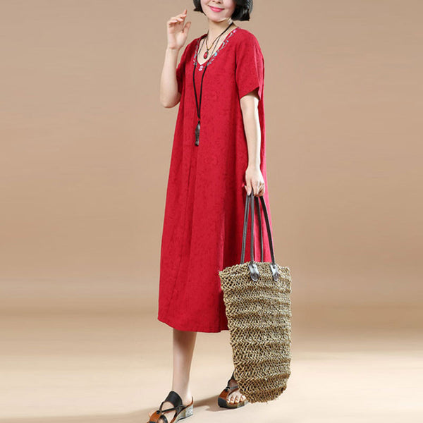 Ethnic Summer Jacquard Short Sleeves Red Dress
