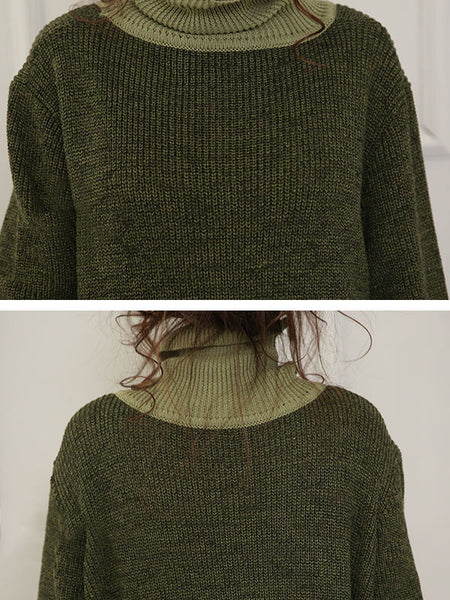 High Necked Wool Knit Dress