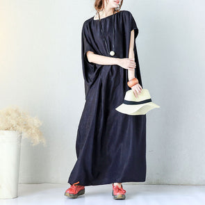Irregular Solid Shoulder Sleeves Women Blue Dress - Buykud