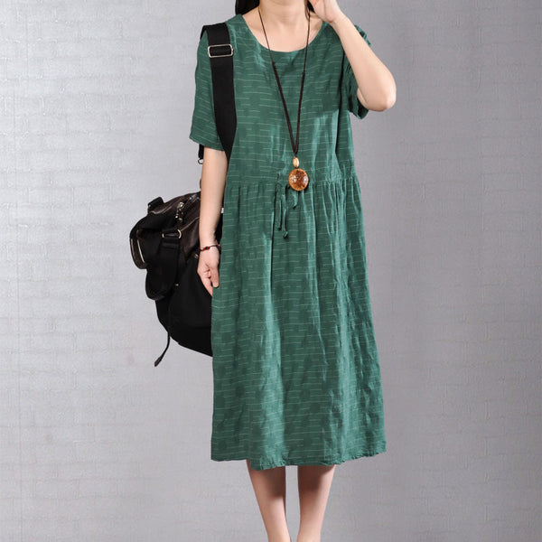 Women Short Sleeve Stripe Drawstring Pleated Green Dress