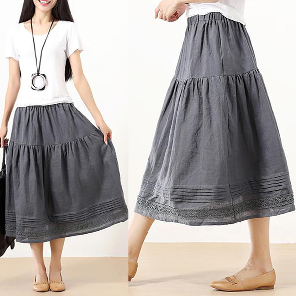 Literature Ramie Splicing Pleated Fashion Applique Gray Women Skirt - Buykud