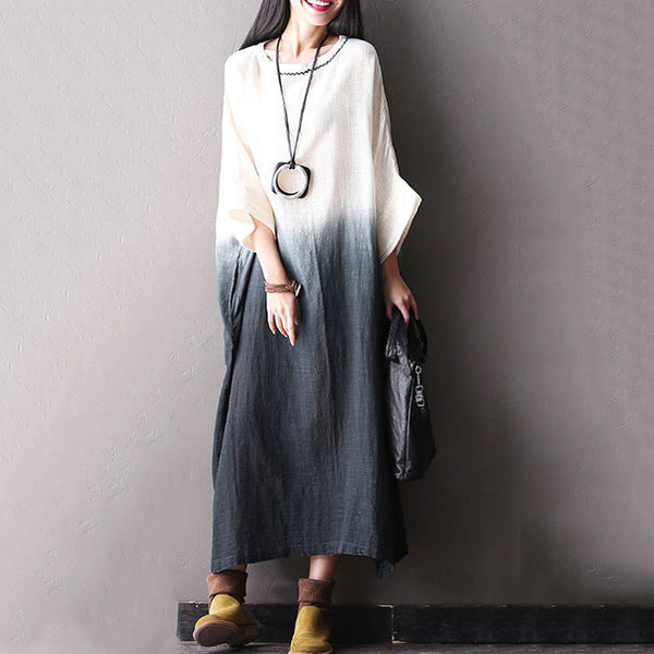 Bat Sleeve Cotton Linen Dark Gray Dresses - Buykud