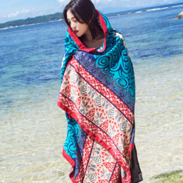 Holiday Women Printing Ethnic Green Scarf - Buykud