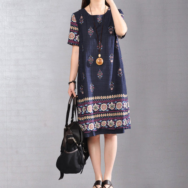 Women Short Sleeve Printed Cotton Navy Blue Dress