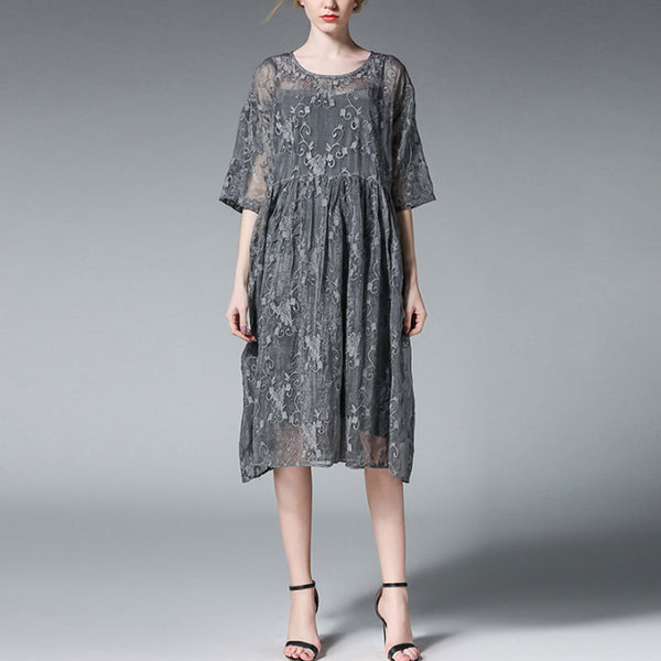Summer Loose Women Embroidery Gray Dress Two Piece - Buykud