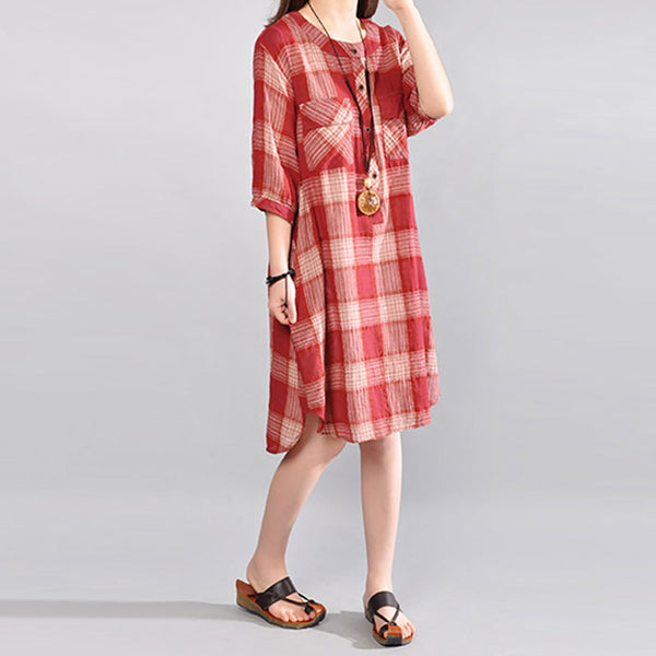 Summer Women Round Neck Lattice Short Sleeves Red Shirt Dress - Buykud