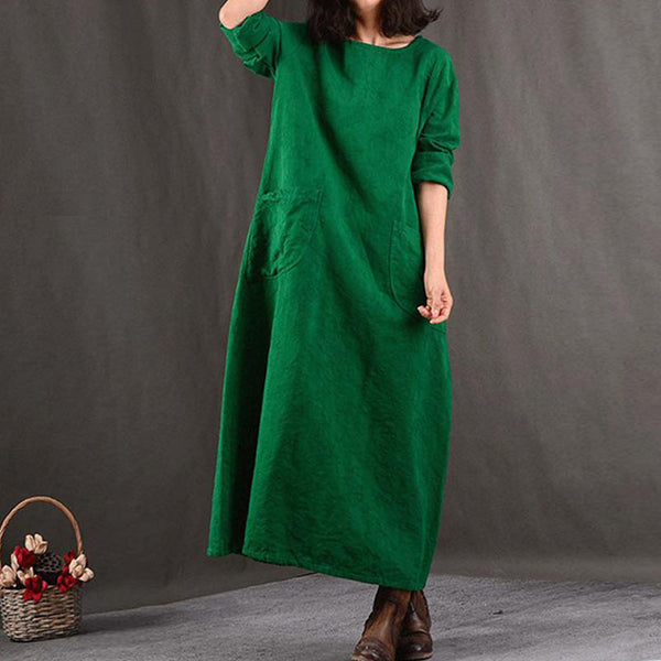 Round Neck Cotton Women Casual Loose Green Dress