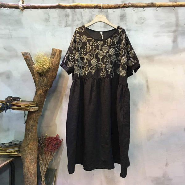 Spring Embroidered Fold Round Neck Black Dress