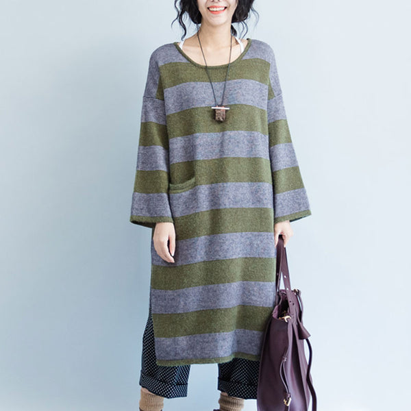 Green Striped Pocket Sweater