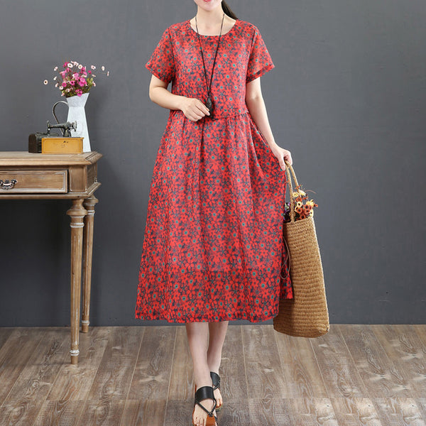 Floral Retro Printing Loose Summer Short Sleeve Red Dress