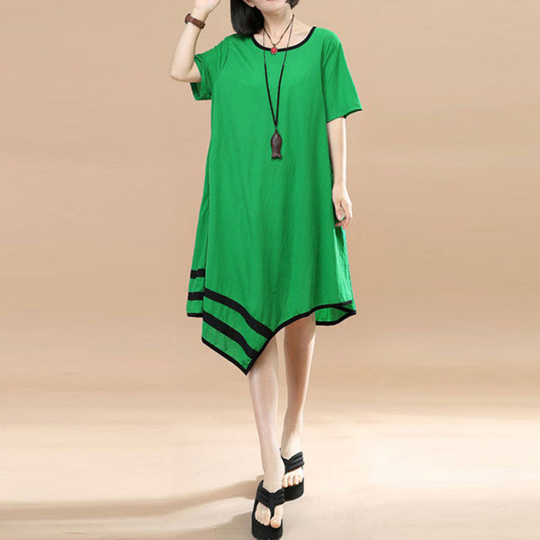 Irregular Women Summer Loose Casual Cotton Splicing Green Dress - Buykud