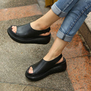 Summer Casual Cow Leather Shoes Black Wedge Heel Sandals
