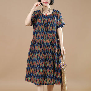 Summer Floral Short Sleeves Women Navy Blue Dress - Buykud