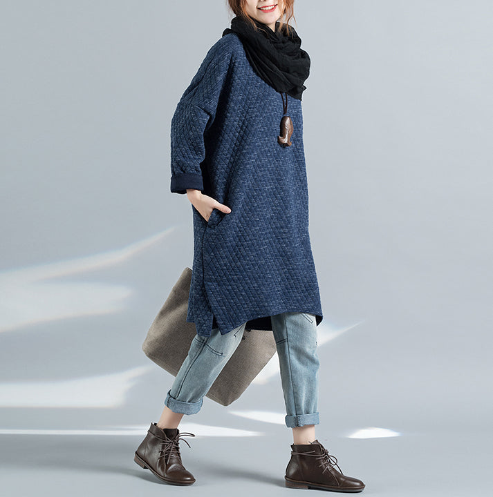 Cotton Jacquard Round Neck Long Sleeves Retro Autumn Blue Dress - Buykud