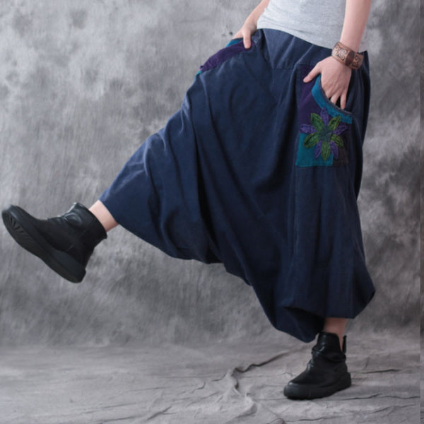 Retro Casual Linen Blue Harlan Wide Leg Pants