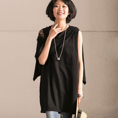 Women Casual Splicing Black Shirt - Buykud