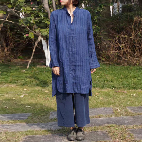 Spring Linen Stripe Loose Casual Blue Shirt