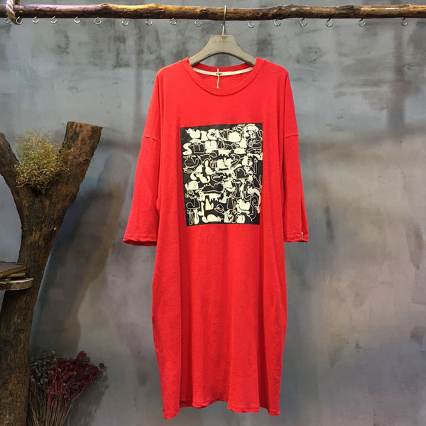 Round Neck Printing Casual Loose Red Dress