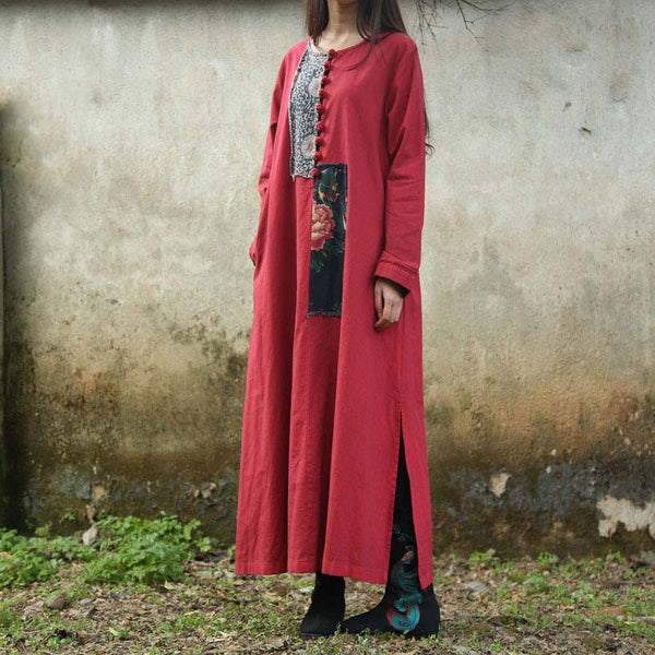 Retro Red Collage Ethnic Long Sleeved Button Dress