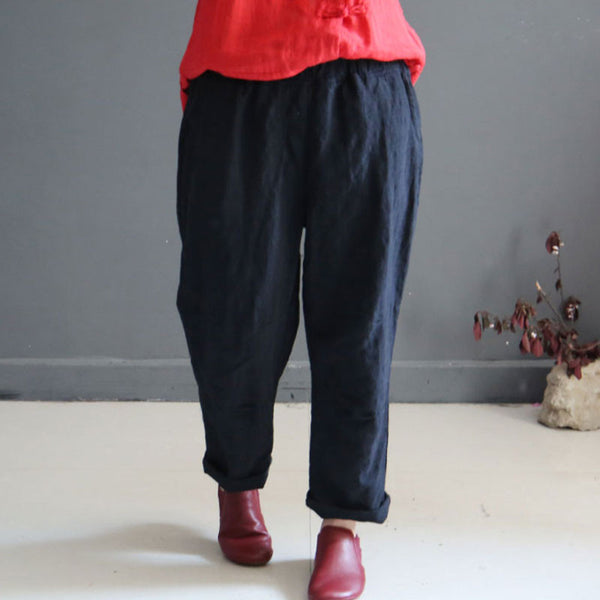 Linen Straight Women Loose Summer Casual Black Pants