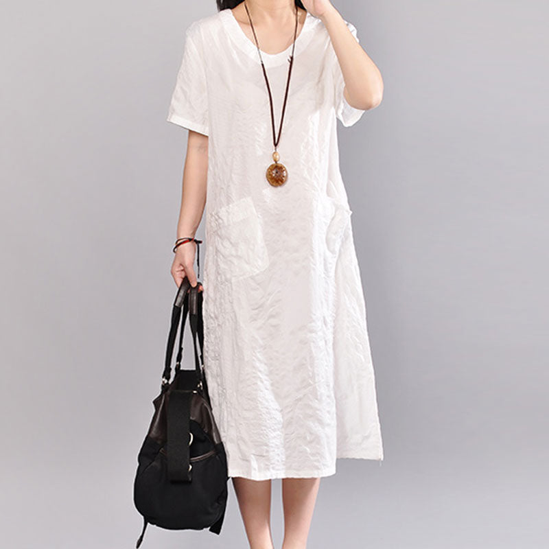 Casual Summer V Neck Short Sleeve White Pullover Dress - Buykud