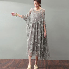 Lacing Women Silk Loose Casual Gray Dress - Buykud