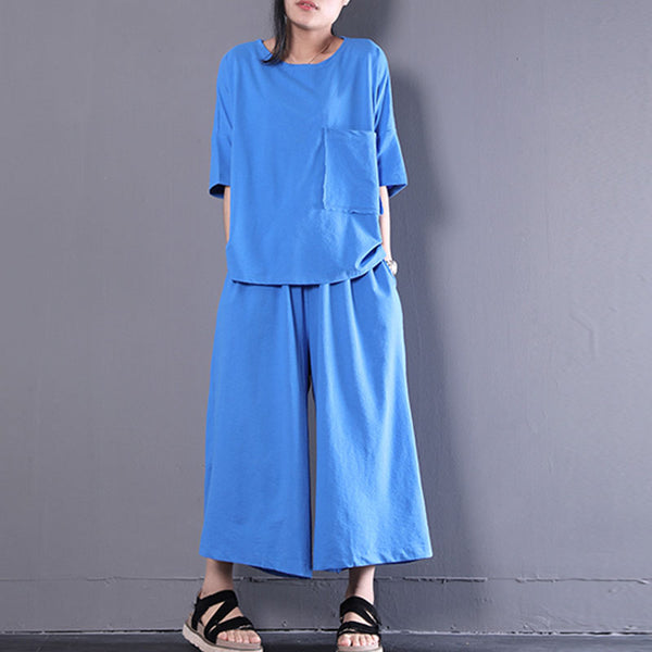 Women Plain Blue Two-Piece Set Loose Suits - Buykud