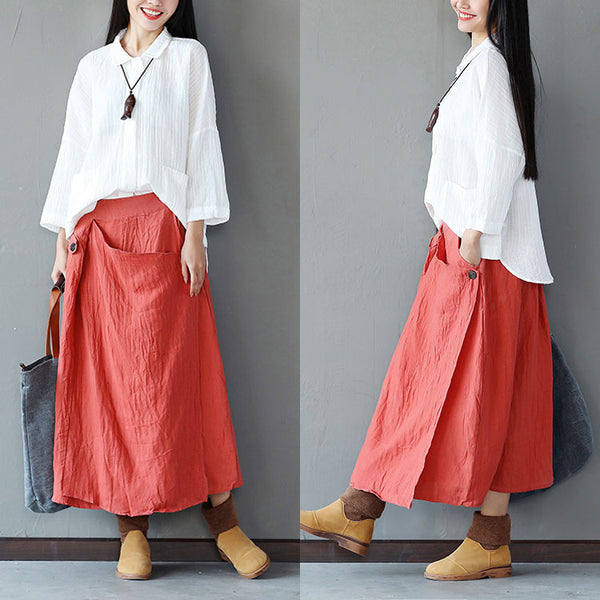 Linen Women Irregular Loose Red Skirt