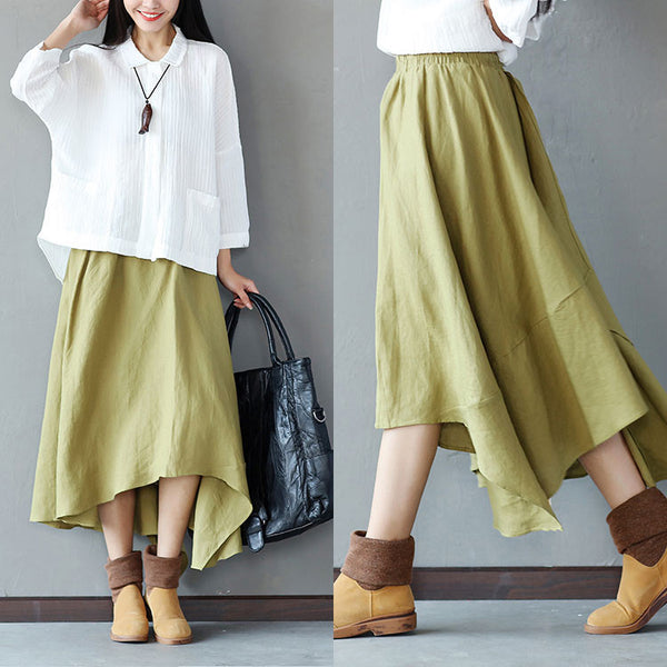 Irregular Loose Hemp Long Light Green Skirt