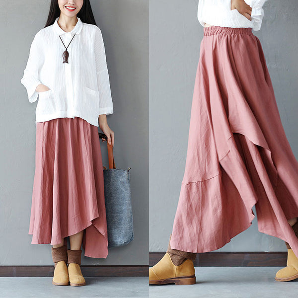 Irregular Loose Hemp Long Light Coffee Skirt