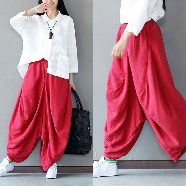 Women Loose Casual Red Pants