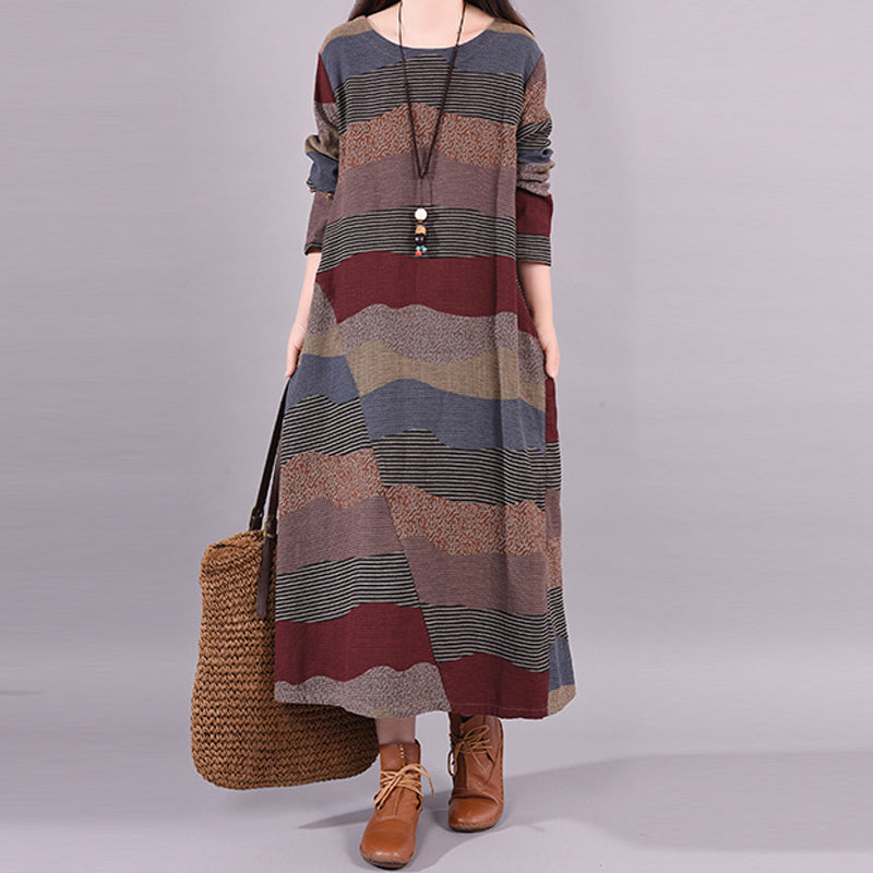 Buykud Wavy Colorful Stripes Retro Ramie Dress