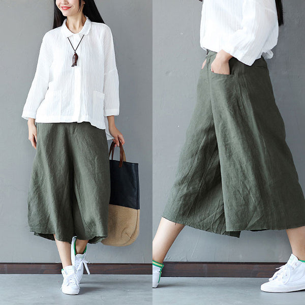 Loose Casual Women Wide Green Leg Pants