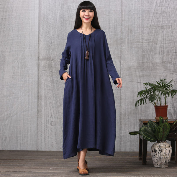 Cotton linen loose fitting autumn and spring dress