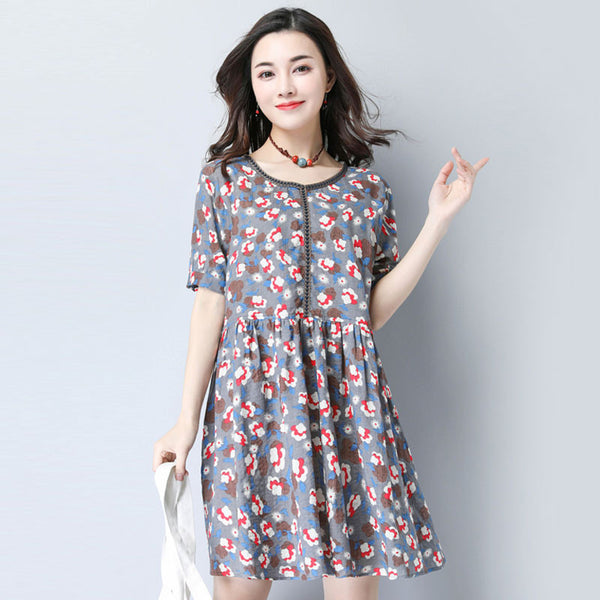 Women Summer Casual Floral Sweet Gray Short Sleeve Dress - Buykud
