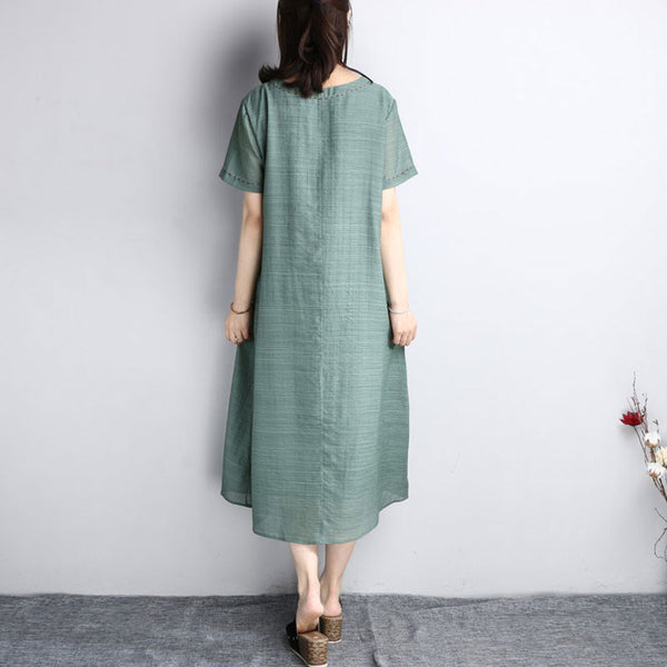 Women Summer Cotton Loose Linen Round Neck Green Dress - Buykud