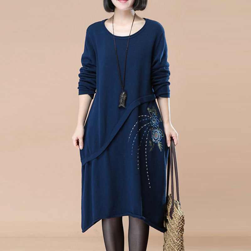 Graceful Embroidered Women Autumn Long Sleeve Knitted Navy Blue Sweater Dress - Buykud