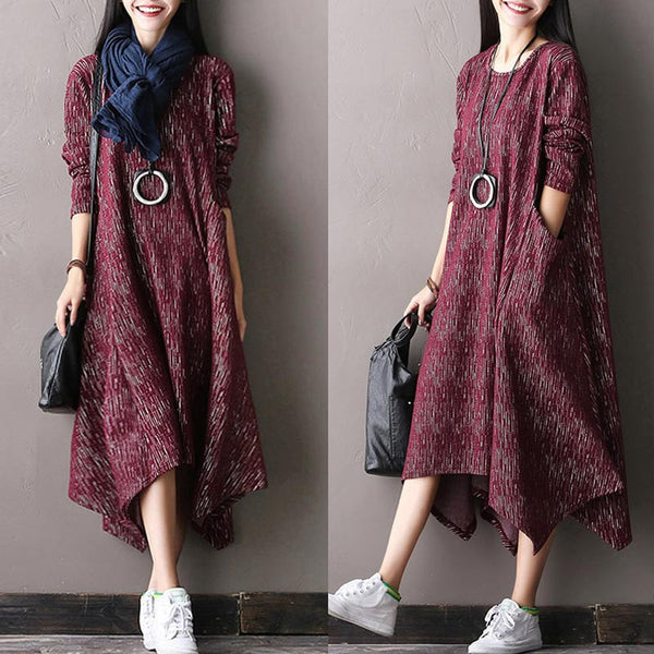 Red Casual Long Sleeved Cotton Irregular Dress