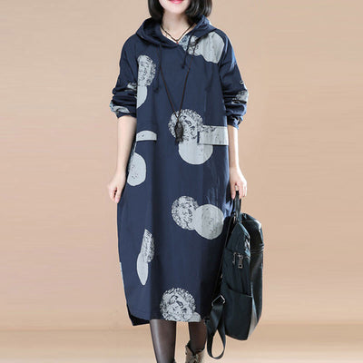 Chic Printing Long Sleeves Side Slit Loose Blue Hoody Women Dress - Buykud