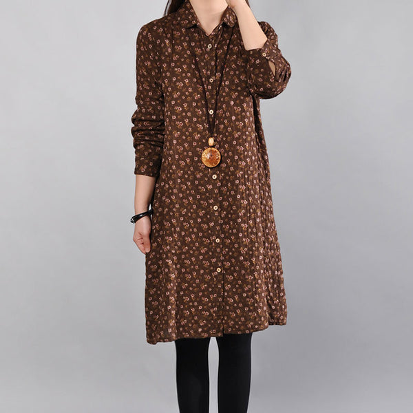 Casual Floral Cotton Women Coffee Dress