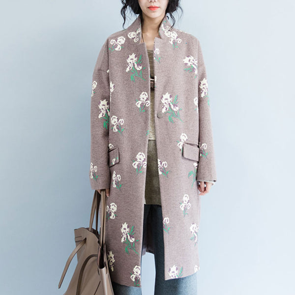 Brown Printed Woolen Jacket