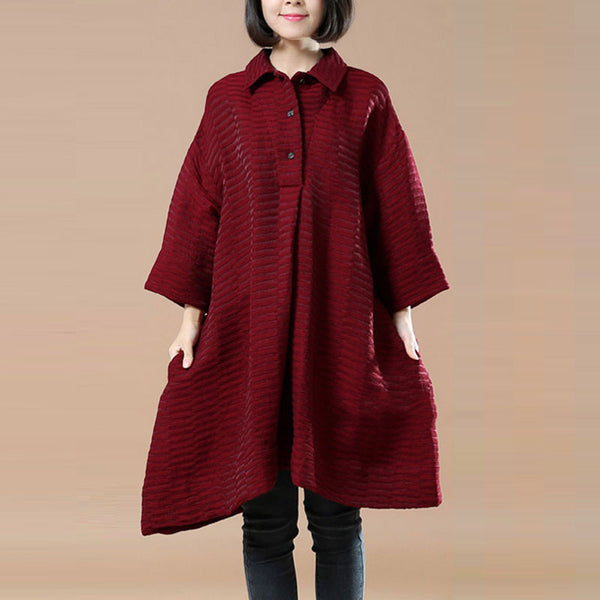 Casual Loose Large Size Stripe Wine Red Shirt - Buykud