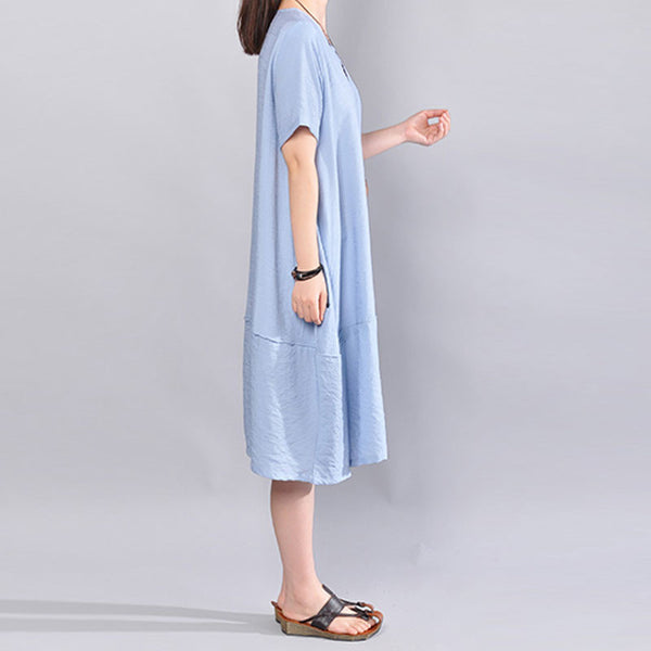 Cotton Short Sleeves Women Loose Summer Splicing Casual Blue Dress - Buykud